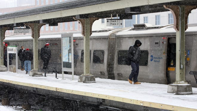 Passengers debark the northbound train at the Metro-North Yonkers station, after the MTA resumed service after a storm on Jan. 27.