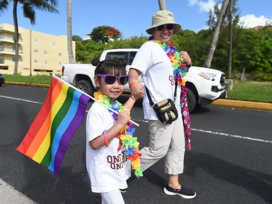 LGBTQ supporters of all ages take to the streets during the second annual LGBTQ pride march in Tumon on June 2, 2018.