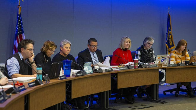 The 4J School Board is shown in November 2019 at the district offices in Eugene. [Chris Pietsch/The Register-Guard file] - registerguard.com