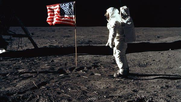 "Astronaut Edwin ""Buzz"" Aldrin Jr. poses for a..."