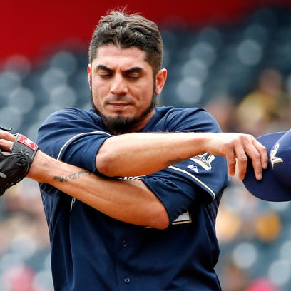 Milwaukee Brewers starting pitcher Matt Garza gave up five runs in six innings in taking the loss.