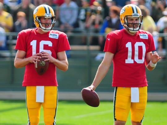 Green Bay Packers backup quarterbacks Scott Tolzien, left, and Matt Flynn were both retained on the team's 53-man roster in 2014.