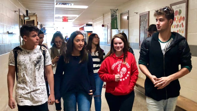 Students from Israel and the students who are hosting them get a tour of the Franklin County Career and Technology Center the morning of Oct. 20. The students are part of an exchange program which gives them the chance to stay in the area for a week with a family in the district.