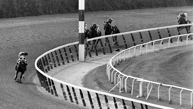 Jockey Ron Turcotte, left, aboard Secretariat, turns for a look at the field many lengths behind, June 9, 1973, as they make the final turn on their way to winning the 1973 Triple Crown in the Belmont Stakes race at Belmont Park in Elmont, N.Y. Secretariat won the Belmont Stakes.