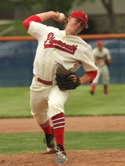 Plymouth's Jarrett Miller throws a pitch during the