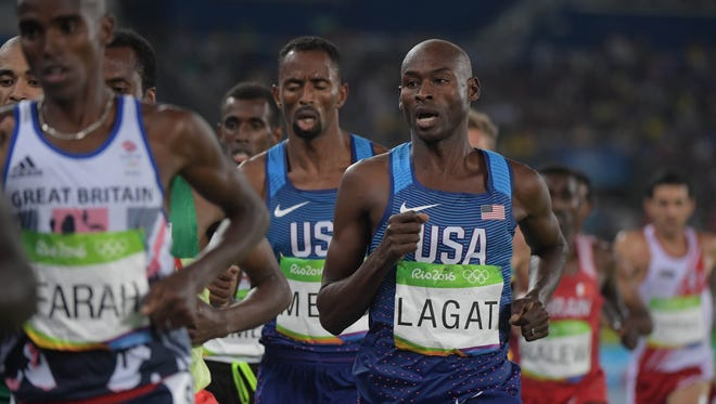 Aug 20, 2016; Rio de Janeiro, Brazil; Bernard Lagat (USA) during the men's 5000m final during the Rio 2016 Summer Olympic Games at Estadio Olimpico Joao Havelange.