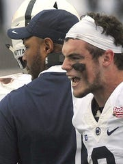 Trace McSorley (right) has the edge in winning the quarterback spot for coach James Franklin. But he will be learning a new playbook right along with younger quarterbacks Tommy Stevens and Jake Zembiec.