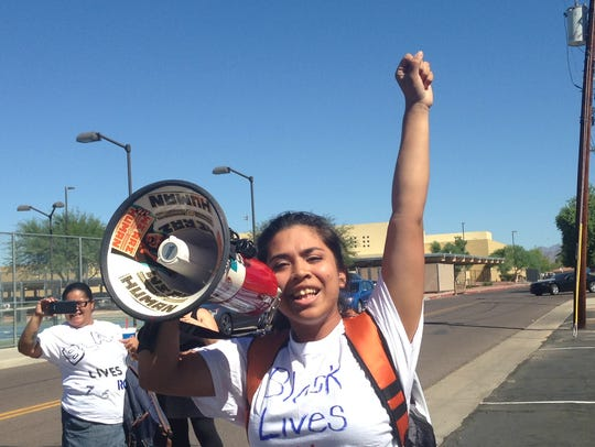 Genesis Santoyo leads protesters at Buckeye High School