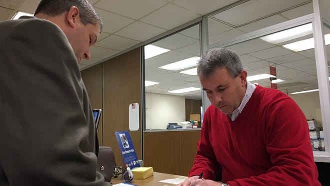 Republican Scott Alexander was the first candidate to file a declaration of candidacy on Wednesday. Alexander is seeking re-election to an at-large seat on Delaware County Council.