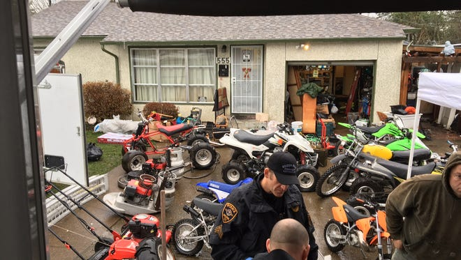Keizer police arrested four people on theft and possession charges after finding property reported stolen at a home on Marino Drive North.