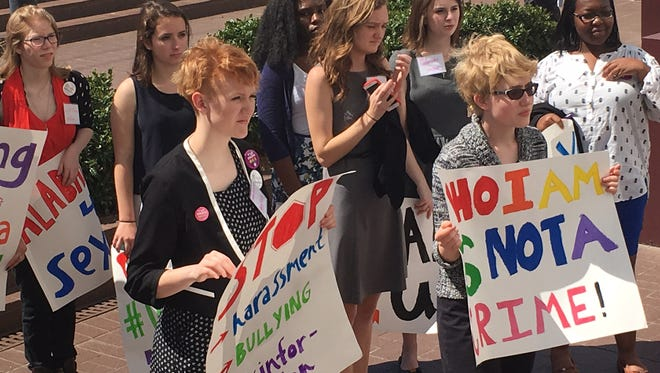 Students rally outside the Alabama State House on Thursday, April 7, 2016, for Youth Advocacy Day, focusing on the state's sex education law.