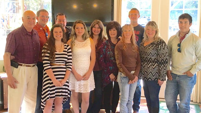 The Board of Realtor presented scholarships to local students. Award recipients pictured, from left, back row;  Alberto Robles, James Russ, Dickie Clayton, Angie Olivas, board president; and Oliver Schultz, Capitan High School. Front row; Brittany Kelly, Ruidoso High School; Alyssa Gomez, Hondo High School; Diane Beloat, Darien Ross, Misty Strickland and Joel Torres, Carrizozo High School. Saige Bell, Corona High School not pictured.