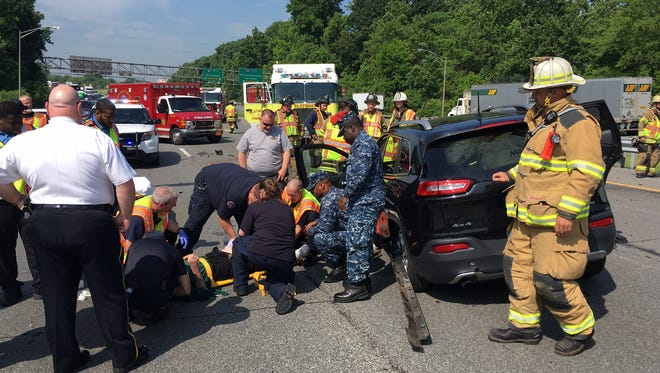 A crash on northbound I-95 at the Pennsylvania line is causing backups in Delaware.