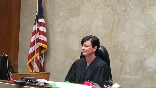 Judge Lisa Gorcyca in a photo taken Wednesday during a routine court procedure in which dozens of lawyers showed up to support Gorcyca, who had been found guilty by of judicial misconduct by the Judicial Tenure Commission in the Tsimhoni custody case.