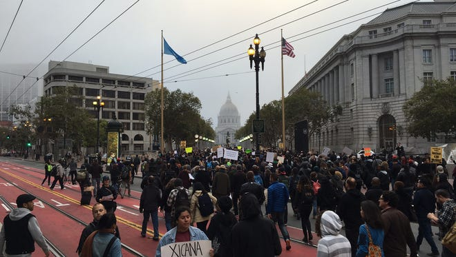 San Francisco rally against police brutality moves down Market St. towards City Hall