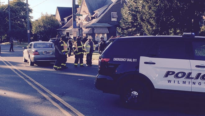 A crash involving a pedestrian and a vehicle stops traffic on Lancaster Avenue.