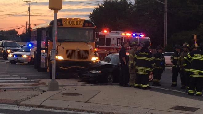 A crash Wednesday morning in Bear involving a car and a school bus.