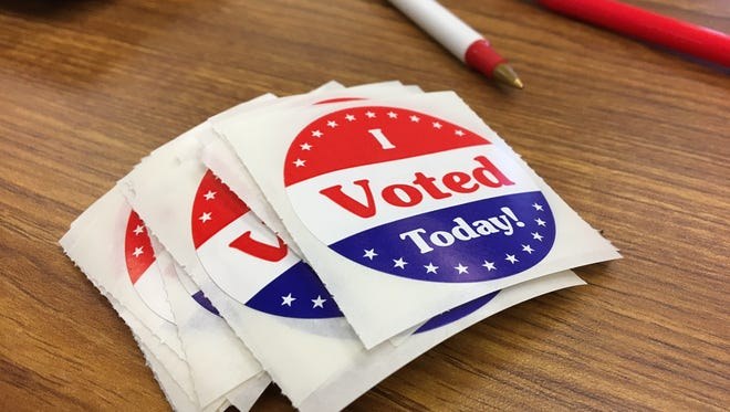 """""""I Voted Today"""" stickers given out to early voters in the Delaware County election office."""