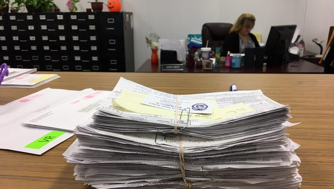Some of the voter registration forms submitted to Delaware County in October by a company that was investigated by Indiana State Police.