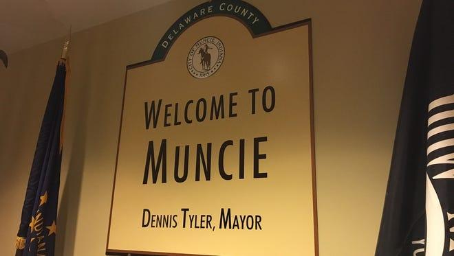 Sign outside Mayor Dennis Tyler's office.