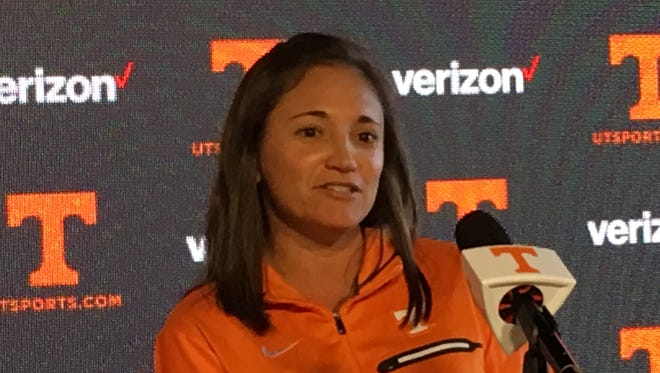 Alison Ojeda is introduced as Tennessee women's tennis coach.