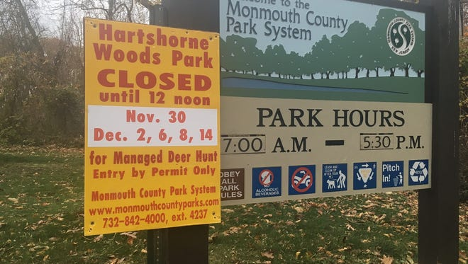 Hartshorne Woods Park will be periodically closed for hunting.