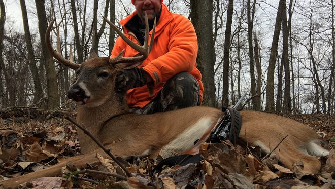 This large buck was taken by Adam Payne in Sauk County at 9:30 a.m. on a cold windy opening morning. Payne hunts the area with his family and friends. He lives and works in Sheboygan County.
