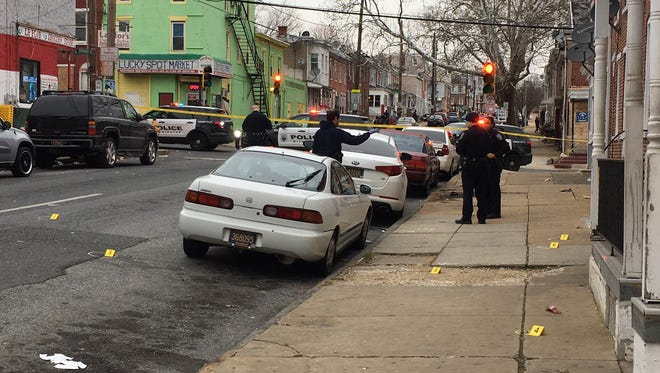 A car was struck Monday after several shots were fired in Wilmington's Hilltop neighborhood.