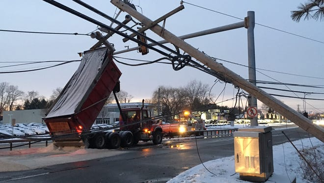 A dump truck toppled a utility pole on U.S. 202 in Pennsylvania Saturday.