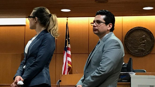 Marco Casillas stands next to his attorney Alena Klimianok on Thursday in Ventura County Superior Court.
