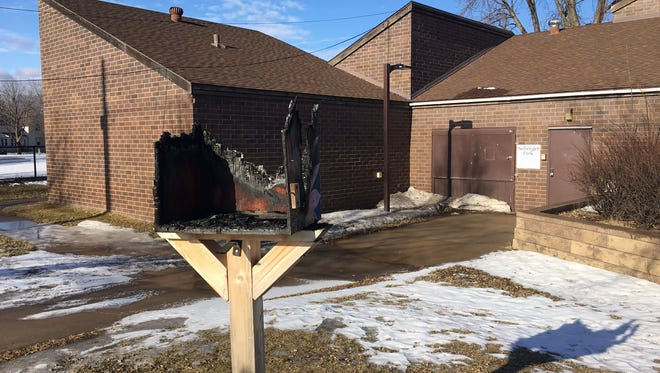 The Little Free Library on Second Street North near Seberger Park, pictured Jan. 30 after it was damaged by fire.