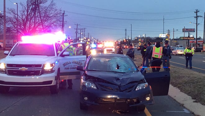 A pedestrian was killed in a crash on Kirkwood Highway Monday morning.