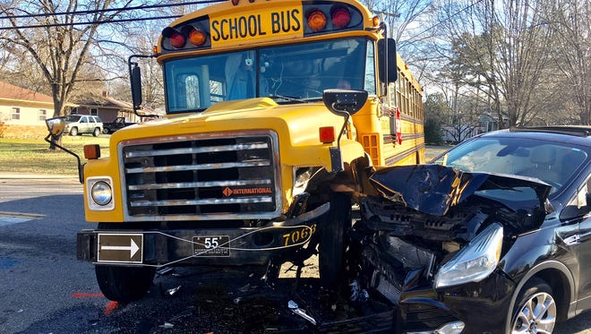 Two students and a bus driver assistant were taken to AnMed Medical Health Center on Monday afternoon after this accident involving an Anderson School District 5 bus and an SUV at Keys Street and East Roosevelt Drive.