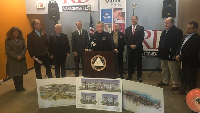 Evesham Mayor Randy Brown speaks at a press conference on Wednesday about new tenants joining the Shoppes and Residences at Renaissance Square.