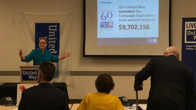 United Way campaign co-chair Linda Uhler announces the record-setting 2016-17 campaign total on Friday.