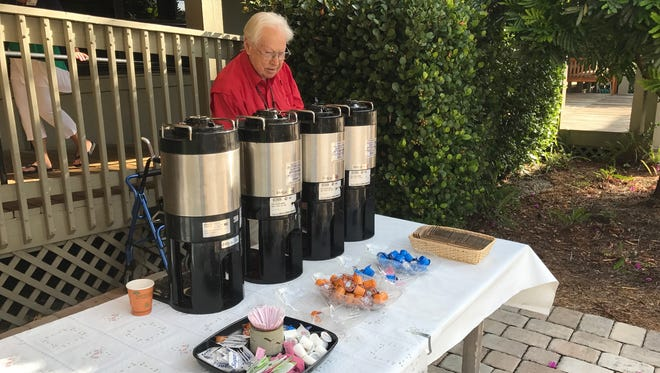 Red Anderson, 93, didn't get a look at Vice President Mike Pence when he attended services at Sanibel Community Church on Sunday morning but did see his Secret Service entourage but thought they were a singing group.  Anderson, a church member, manned the coffee table for the church on Sunday.