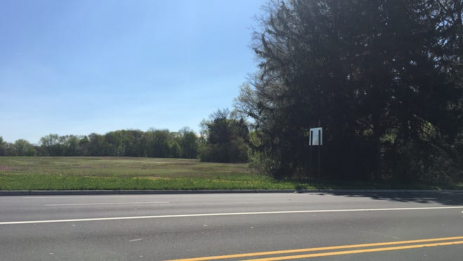 This is the site where a nonprofit housing developer has proposed to build a 71-unit affordable housing complex for seniors. The location is Ark Road and Hovtech Boulevard.