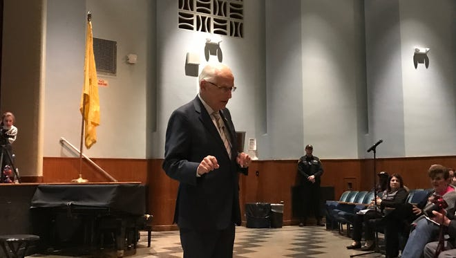 U.S. Rep. Bill Pascrell Jr. speaking at a town hall in Tenafly on Monday night.