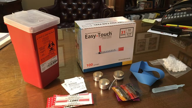 A needle exchange kit as displayed by Delaware County Prosecutor Jeffrey Arnold.