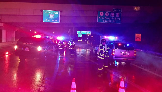 Delaware State Police closed the right lane of I-95 southbound in Wilmington Saturday to investigate a crash that left a pedestrian dead.