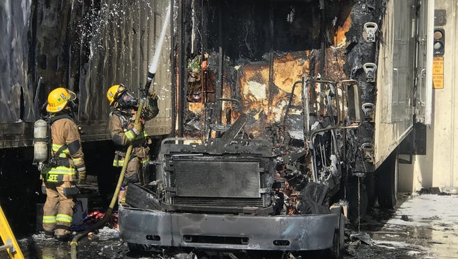 A semitruck that caught fire in Phoenix damaged the Shamrock Dairy distribution center in Phoenix on May 15, 2017. The Phoenix Fire Department said crews were able to extinguish the blaze and that nobody was hurt.