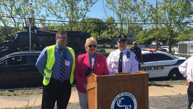 State Senator Diane Allen (center) and Burlington County undersheriff Bryan Norcross (right) as well as Joseph Wilson of the Cross County Connection Transportation Management Association attend a Wednesday press conference, kicking off Burlington County joining the Street Smart NJ campaign.