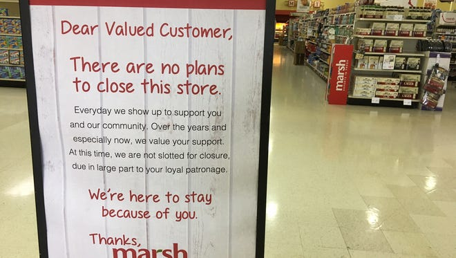 A sign inside the Marsh Supermarket at Wheeling and McGalliard in Muncie.