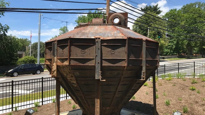 A coal ash container from the former Boyce Thompson Institute in Yonkers has been turned into a sculpture in front of the new Boyce Thompson Center.