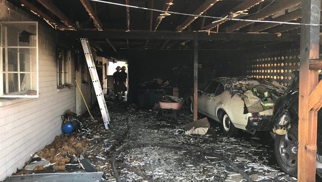A man was injured as he escaped form a house fire on the 5000 block of Cherry Lynn Road in Phoenix on Tuesday afternoon.