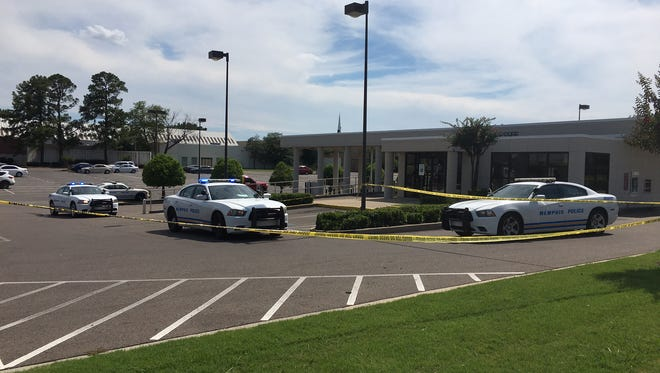 Memphis police investigate after a First Tennessee Bank was robbed near Southland Mall on Monday.