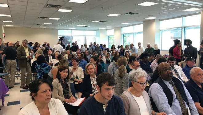 Faculty and staff at Bergen Community College in Paramus filled the room at Tuesday's board of trustees meeting.
