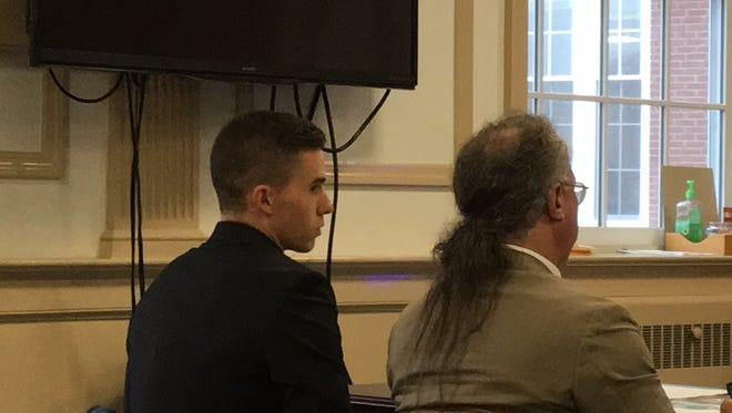 On left, Anthony D'Arrigo with defense lawyer Harley Breite in Superior Court, Morristown, on Aug. 7, 2017.