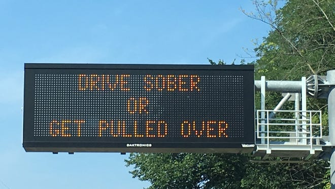 A Drive Sober or Get Pulled Over sign on Route 22 West in Bridgewater.