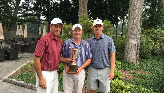 Bronxville resident Connor Daly (center) won the Canno Invitational for the second year in a row. Mark Canno (left) organizes the event. Brian Bartow (right) finished second for a fifth time.